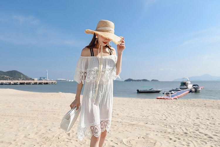 比基尼罩衫女夏季海边度假泳衣外套镂空蕾丝温泉服外搭沙滩防晒衣